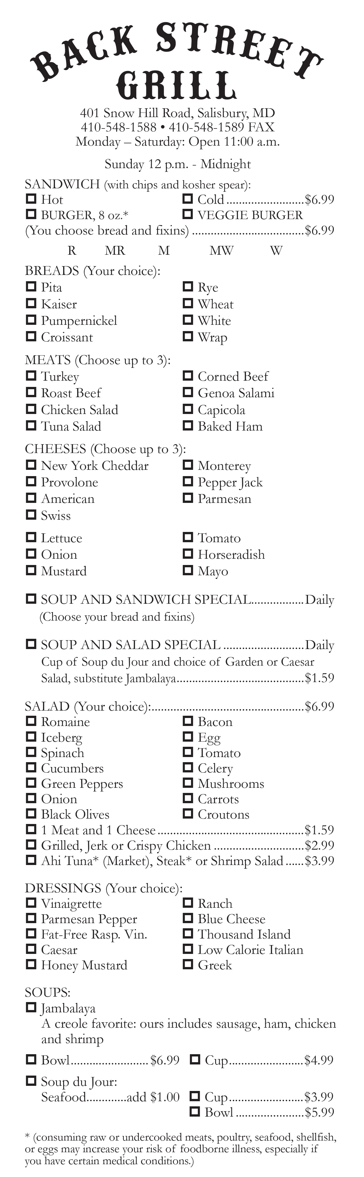 backstreet grill coupons