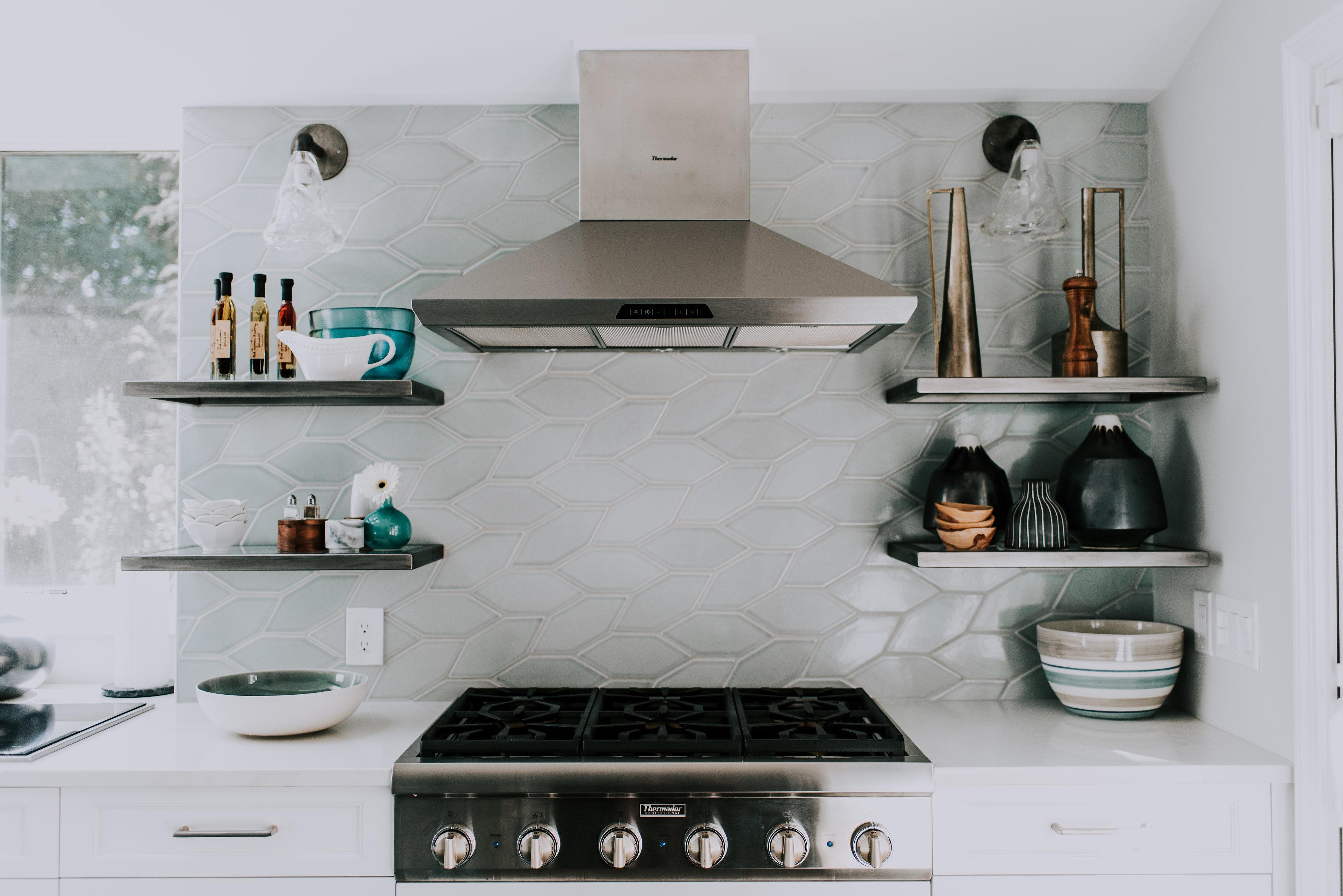 Fireclay Tile Salton Sea Picket Braid Kitchen Backsplash