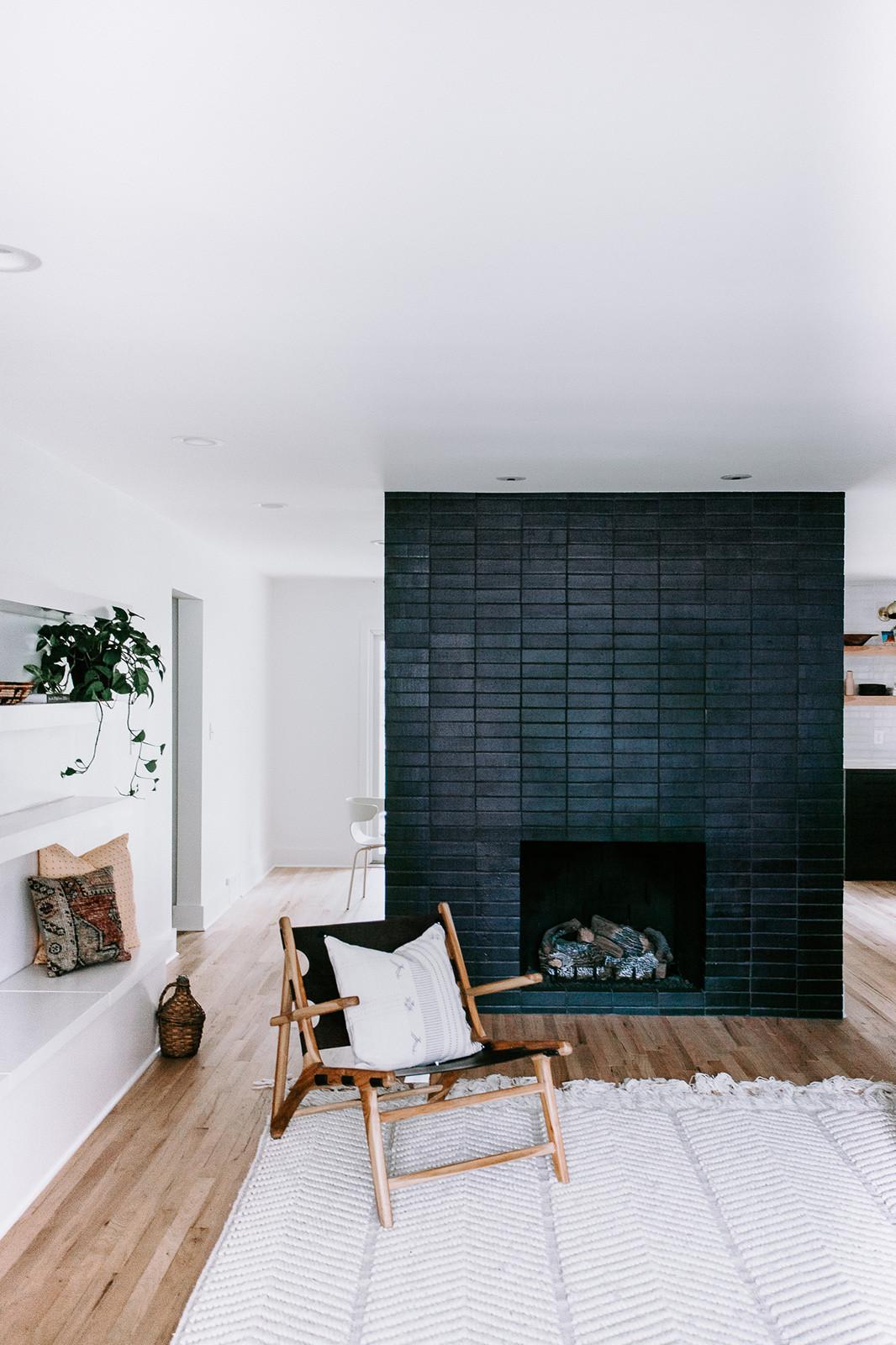 Fireplace surround in Glazed Thin Brick in Black Hills