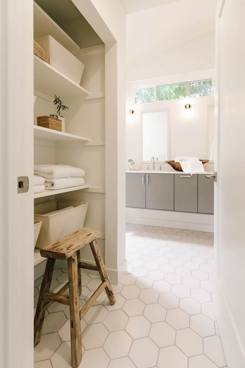 """6"""" Hexagon tiles are perfect for bathroom flooring. Shown here in Daisy. Want non-slip? Choose Capitol."""
