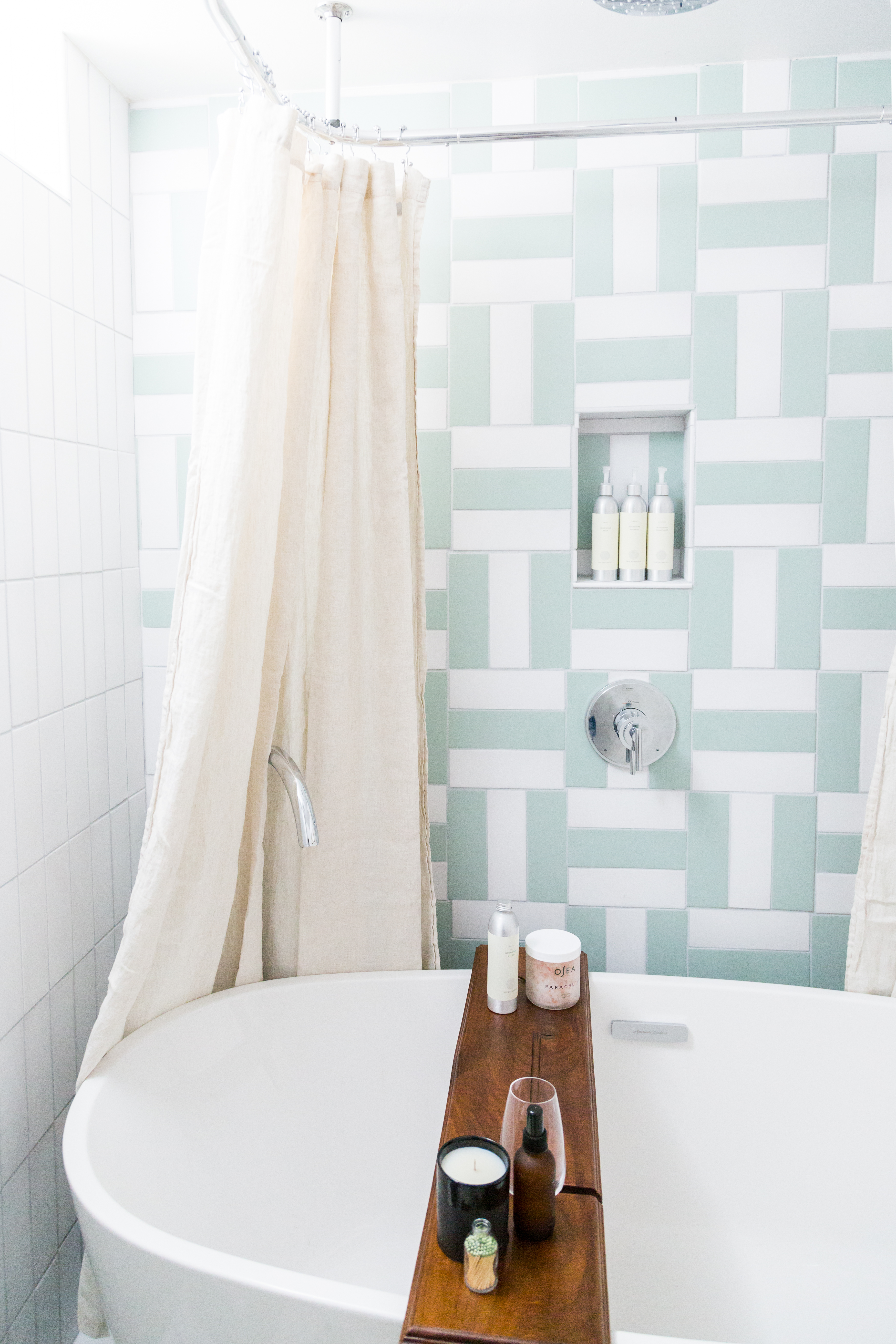 3x9 tiles in Daisy and Sea Glass set in a parquet pattern