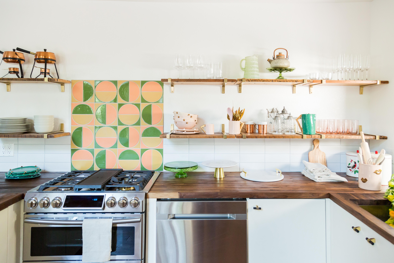 Handpainted Harvest tiles in Sorbet, Sunflower and Spruce Gloss