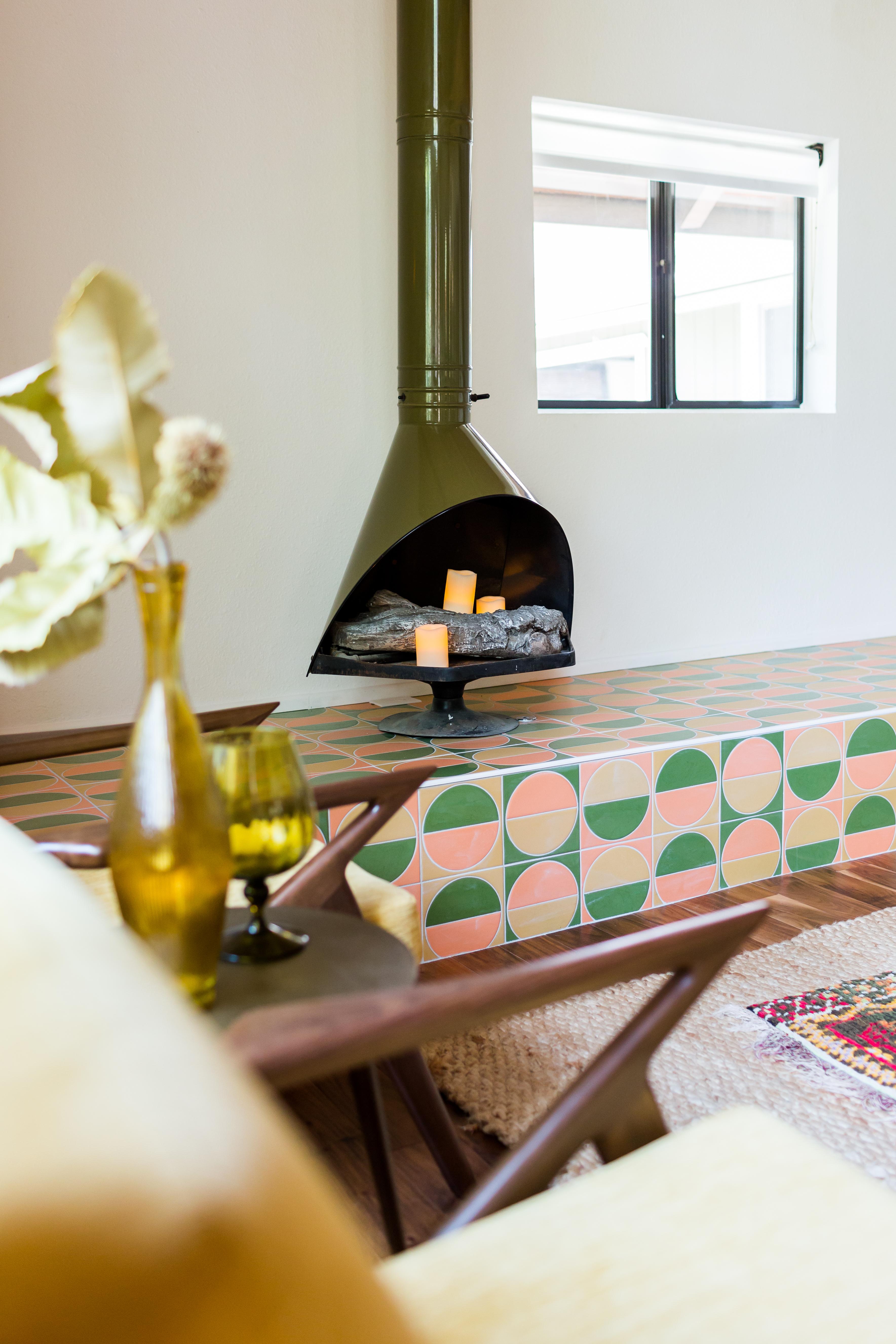 Handpainted Harvest tiles in Sorbet, Sunflower and Spruce Gloss.