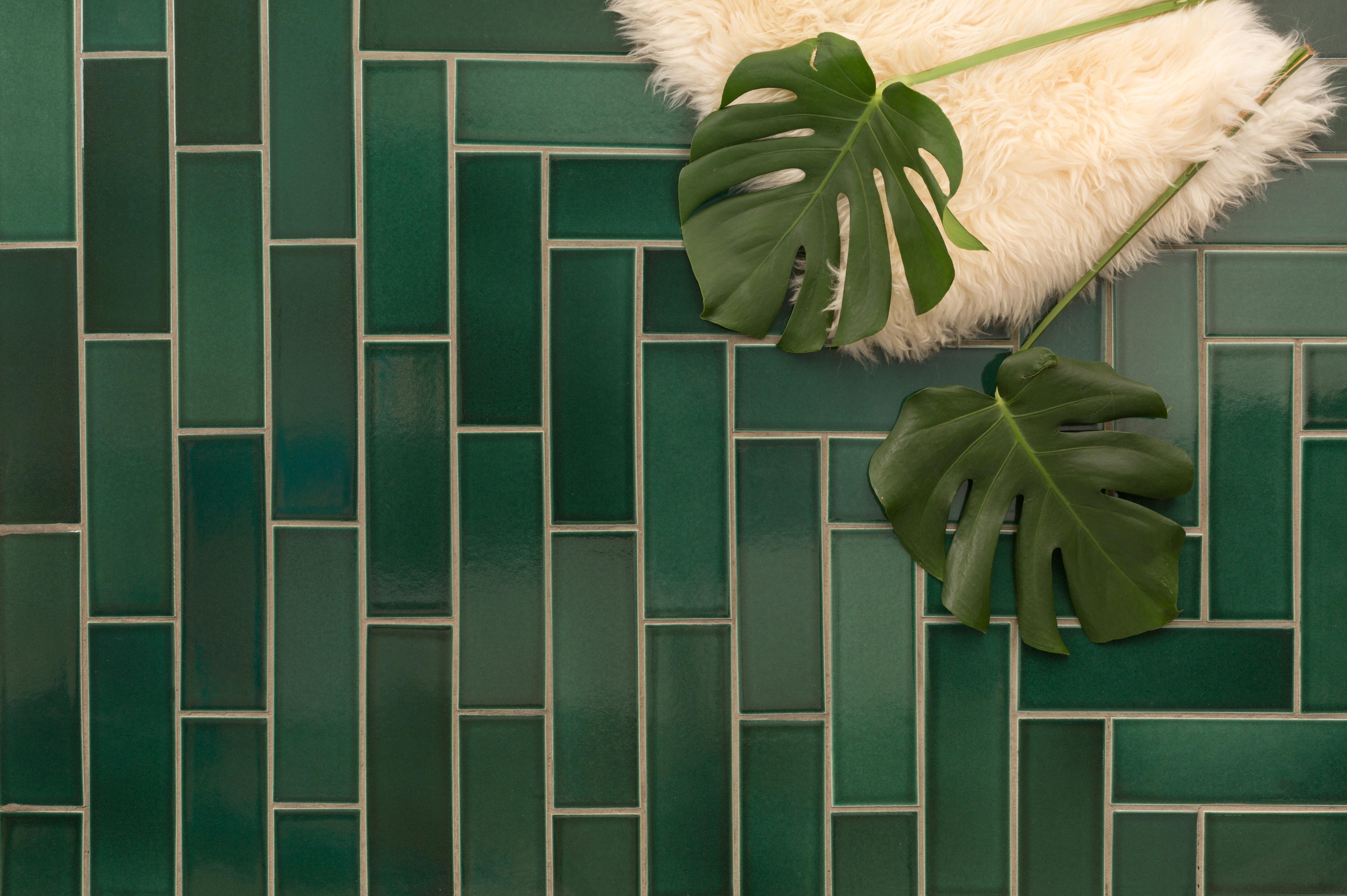 3 x 9 tiles in Venetian Green
