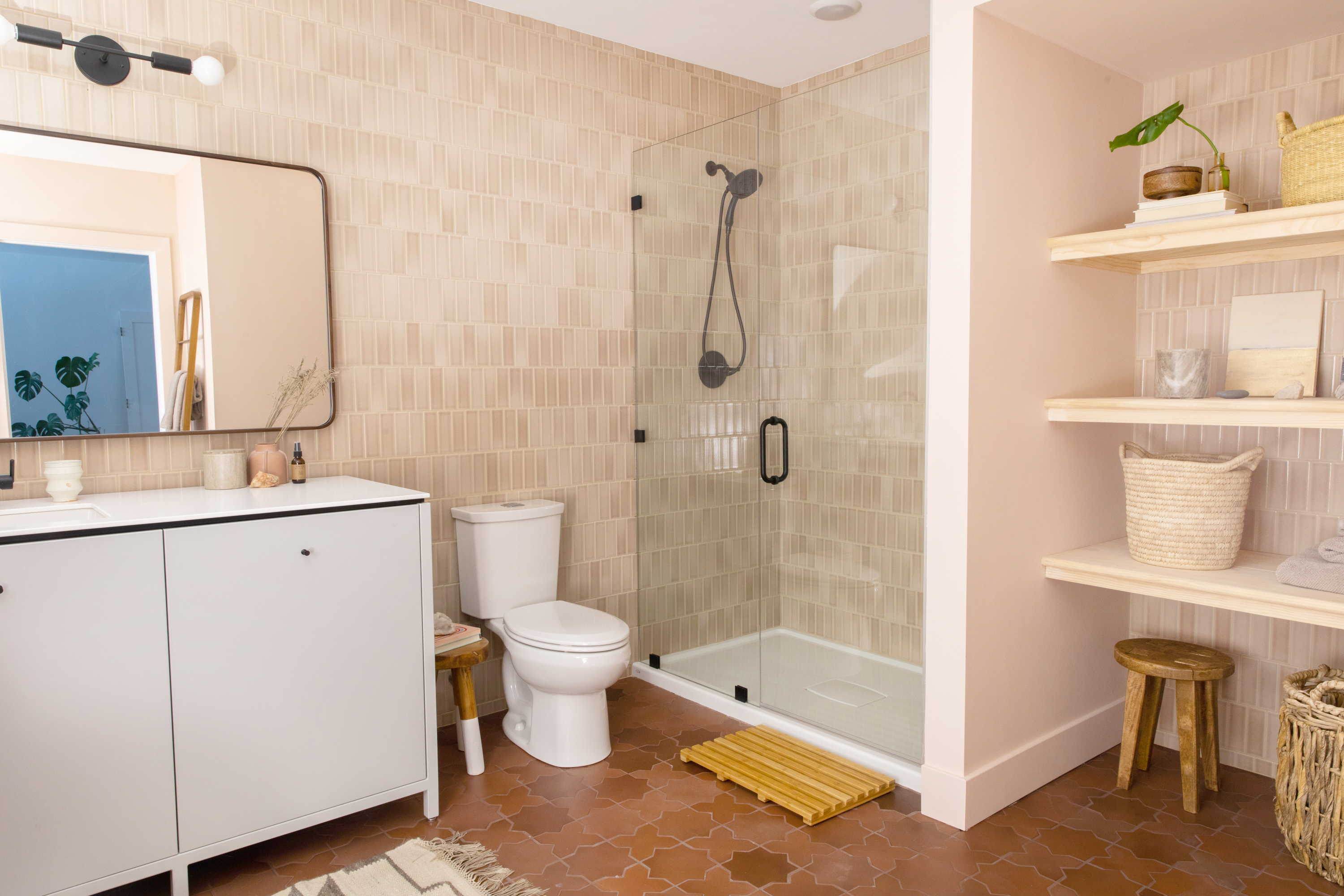 2x6 tiles in Sand Dune + Large Star and Cross in Antique. See the rest of this basement bathroom in our gallery.