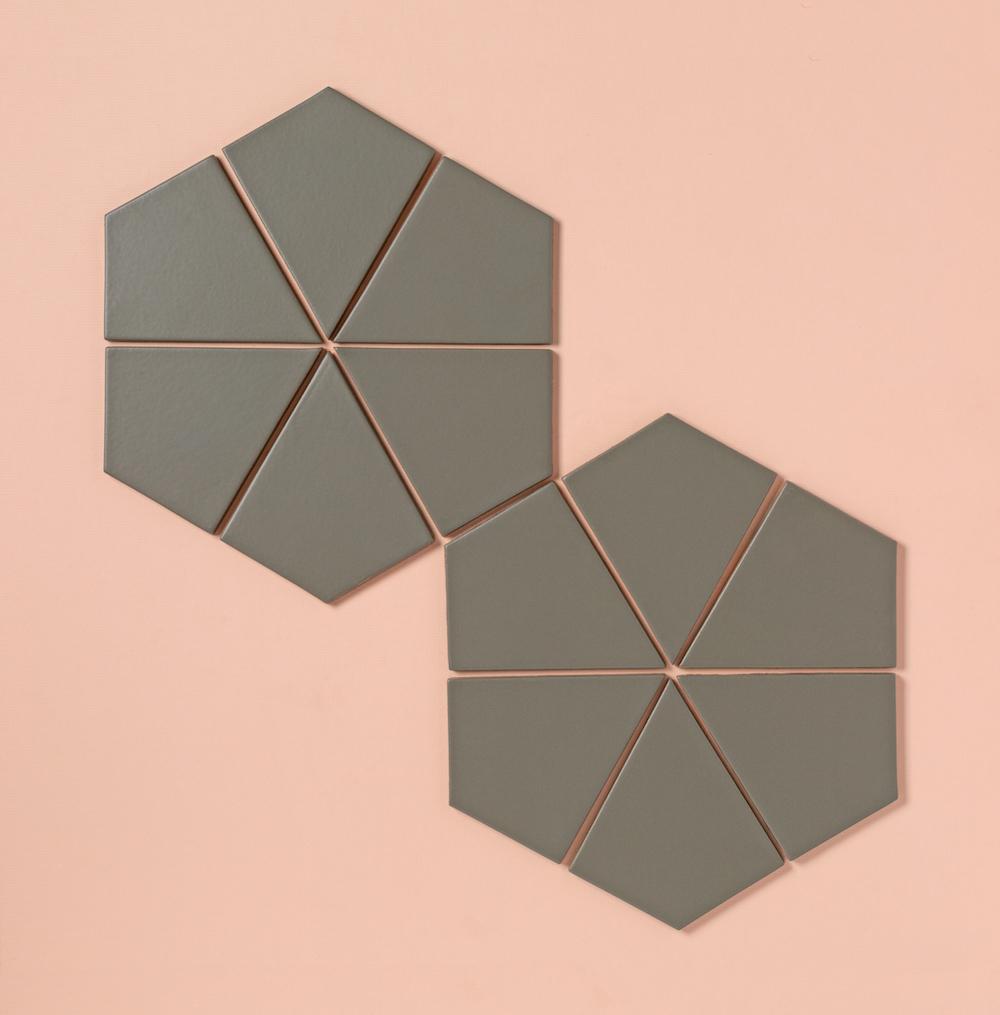 Hexite tiles in our non-slip floor tile color, Cobblestone