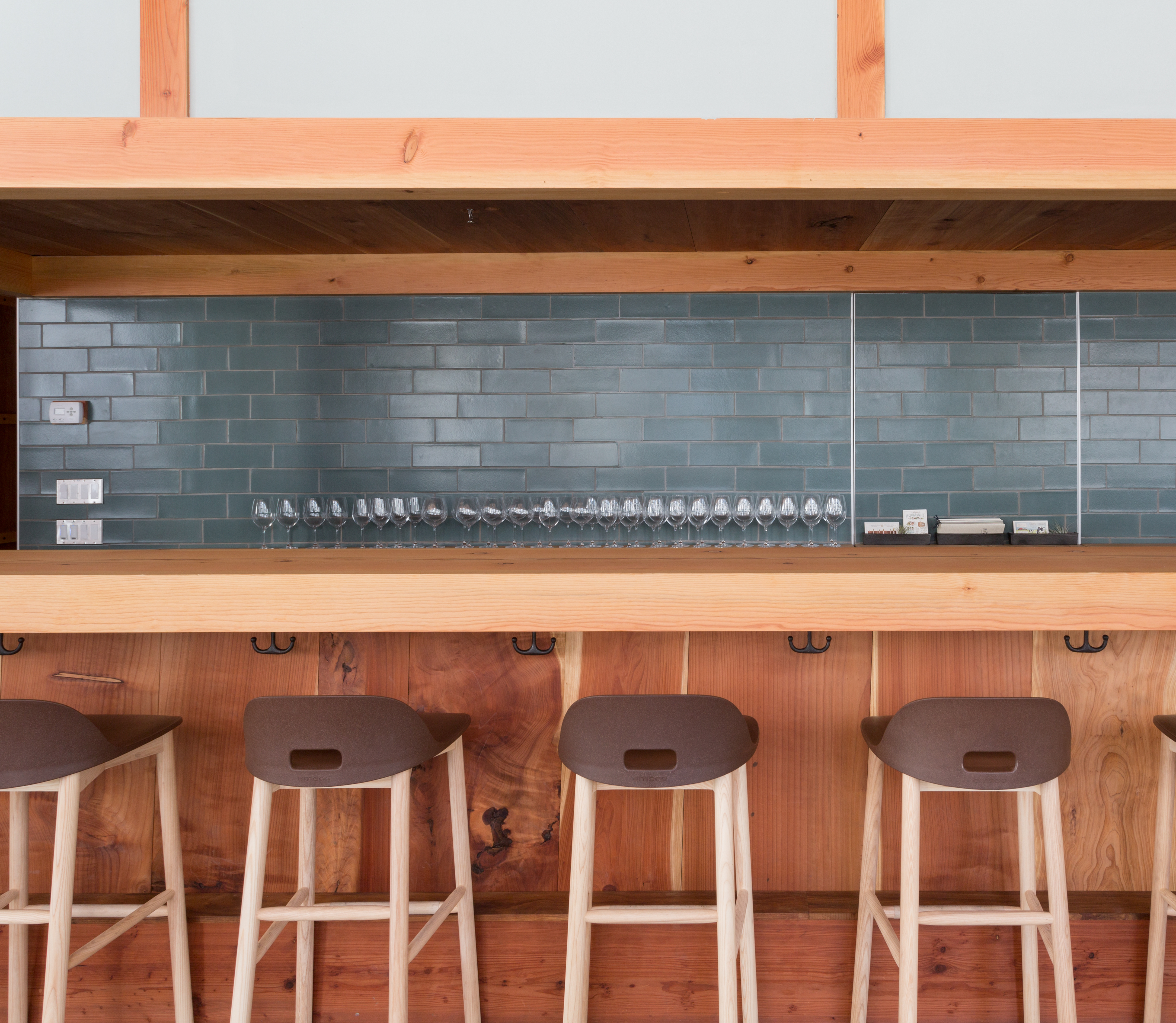 Our subtle blue-green glaze, Flagstone, is beautifully paired with rustic finishes in this San Francisco restaurant.