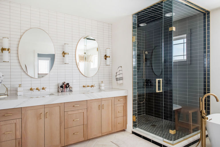Two-tone master bath with handmade tile