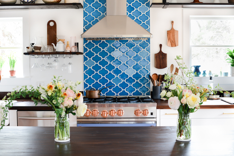 Paseo tiles in our saturated, bright blue, Aegean Sea.
