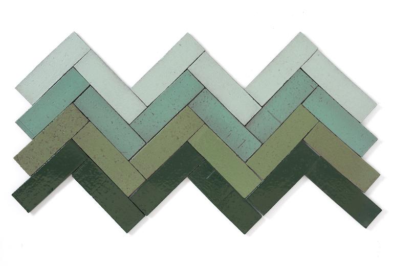 Green Glazed Brick Tile Herringbone Pattern