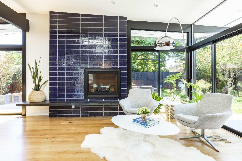 Glazed Thin Brick Midcentury Fireplace Surround
