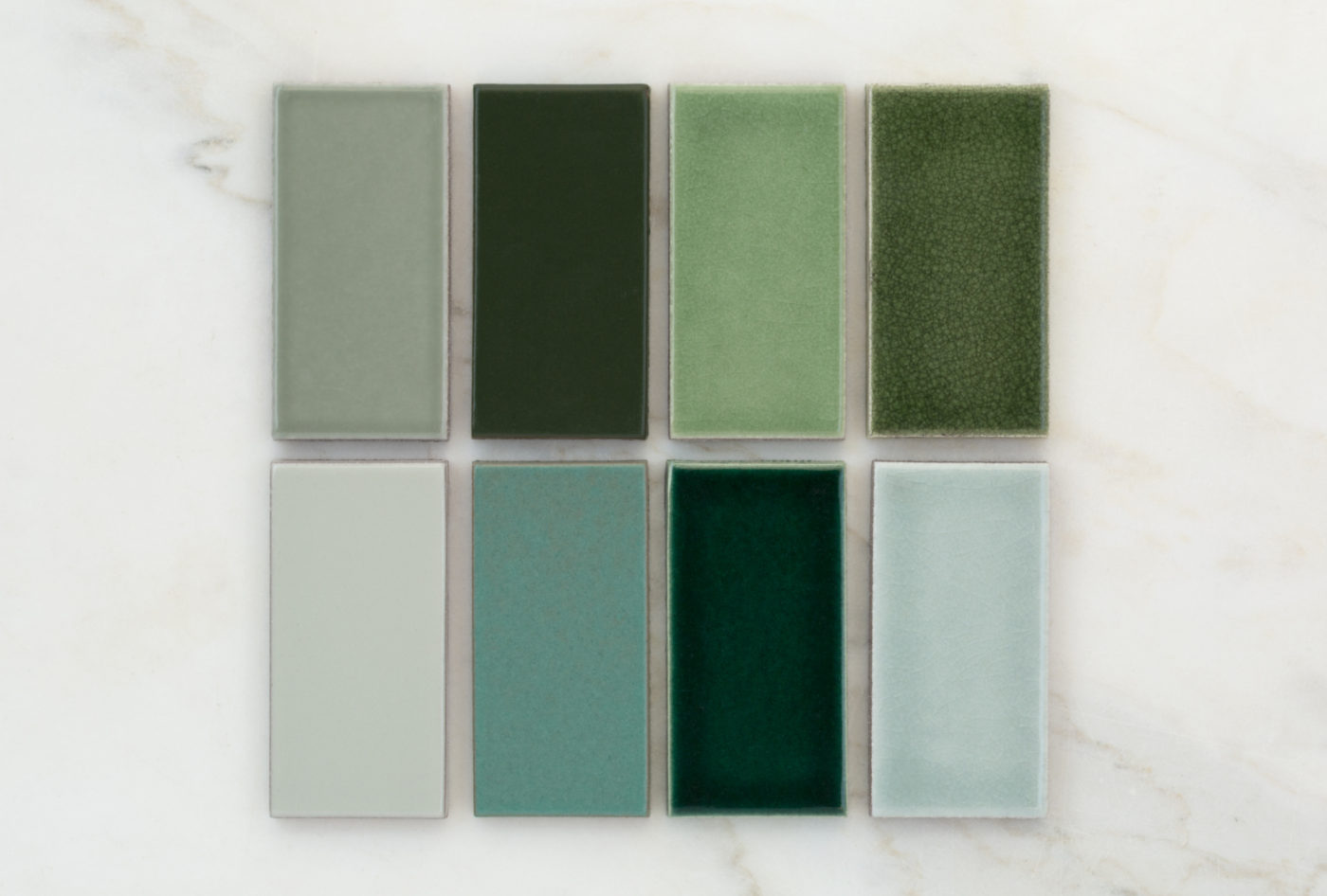 2019 Q2 Fireclay Favorites Greens All Color Samples Rosemary Hunter Green Kelp Basil With Black Patine Oyster Shell Tidewater Venetian Green Salton Sea