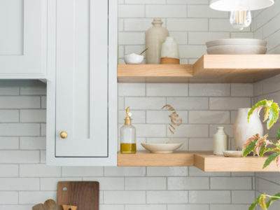 Tinge Floral: Olympic Brick Kitchen Backsplash