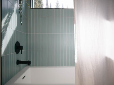 The Nooq: Glass Tile Guest Bath