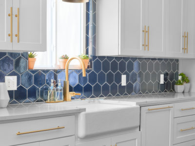 Navy Blue Hex Backsplash