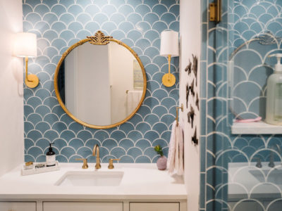 Jessica Honegger: Blue Ogee Drop Bathroom