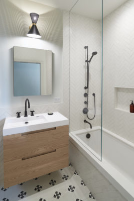 White Herringbone Bathroom Tile