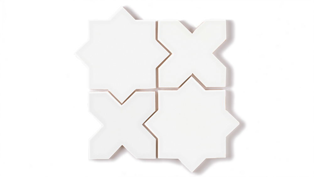 Star Cross White Gloss Fireclay Tile