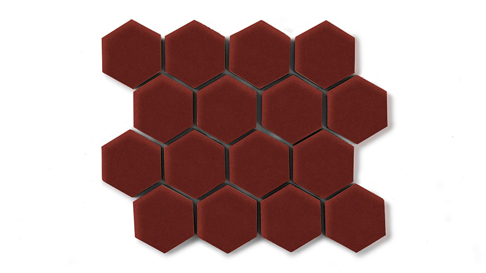 2 Hexagon Sheeted Vintage Leather Fireclay Tile