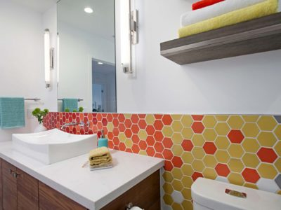 Warm-to-Cool Hexagon Tile Bathroom