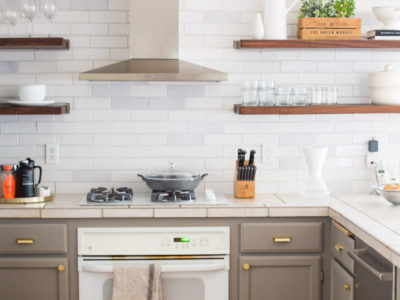 Rustic White Brick Kitchen Backsplash