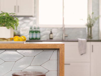 Braided Picket Backsplash + Island Tile