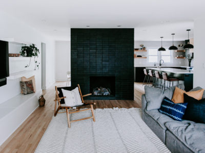 Modern Black Brick Fireplace Surround