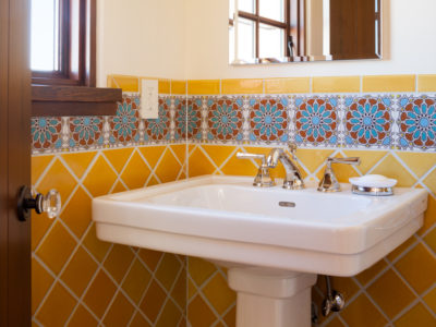Sunny Bathroom With Handpainted Accents