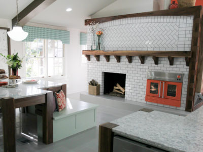 White Herringbone Fireplace