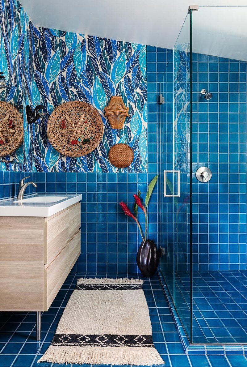 Yumi Interiors: Tropical Blue Bathroom | Fireclay Tile