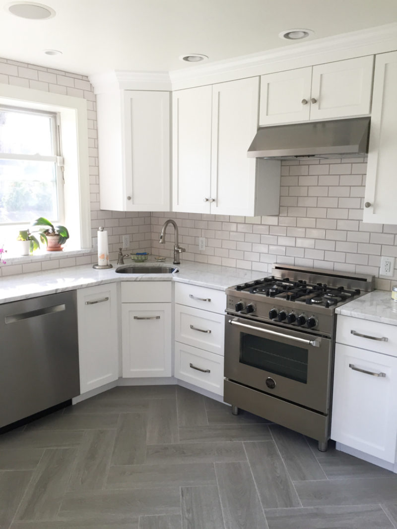 Gray & White Kitchen with Subway Tile Backsplash in ...