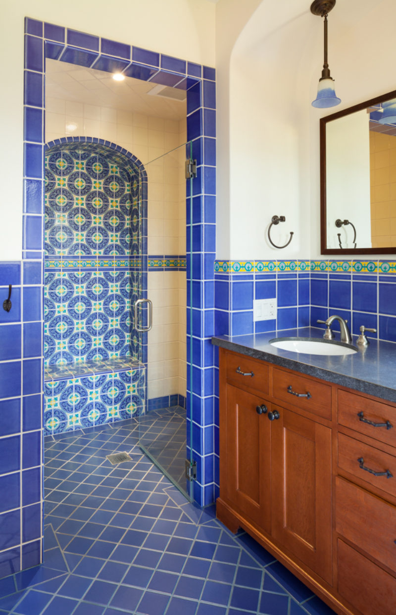 Spanish Colonial Revival Bathroom Fireclay Tile