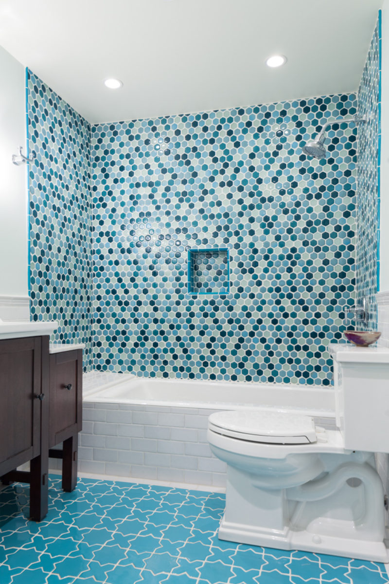 Eclectic Blue Bathroom Remodel Fireclay Tile