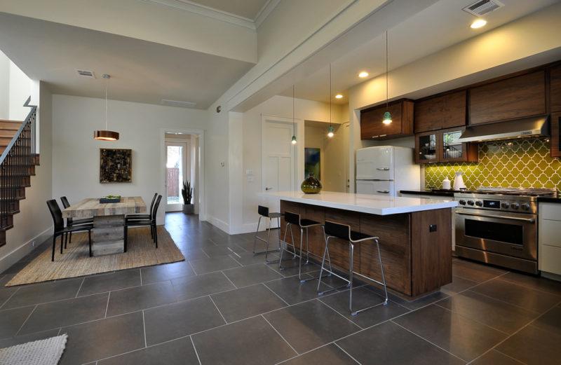 Midcentury Modern San Antonio Kitchen Fireclay Tile