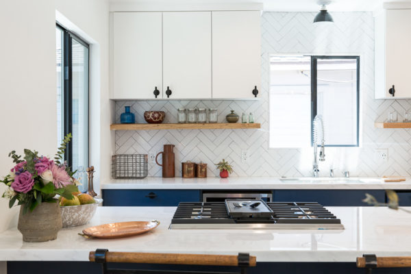 A Refreshed Glazed Brick Herringbone Backsplash