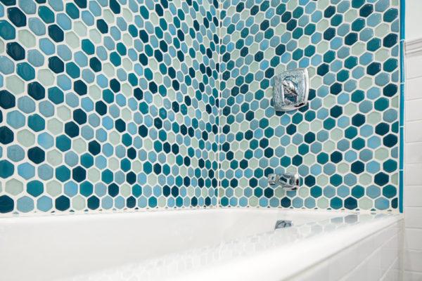Eclectic Blue Bathroom Remodel