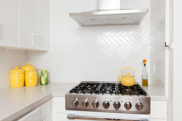 White and Bright Herringbone Kitchen