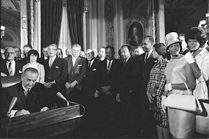 LBJ singing the Voting Rights Act of 1965