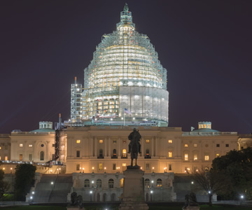 Capitol renovation at night