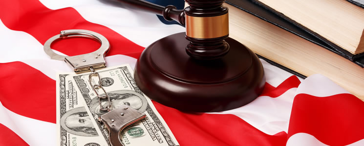 gavel money handcuffs and flag