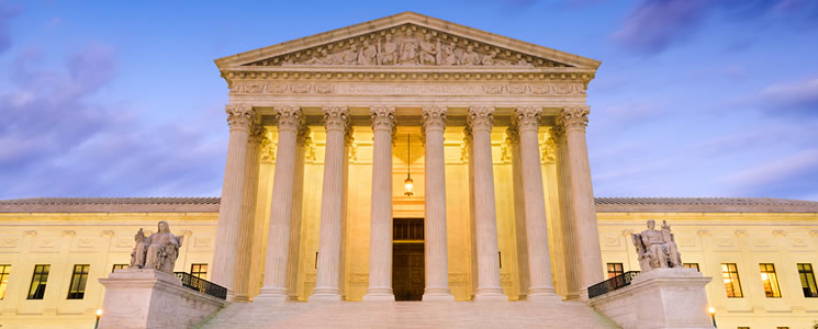 Supreme Court Building at dusk