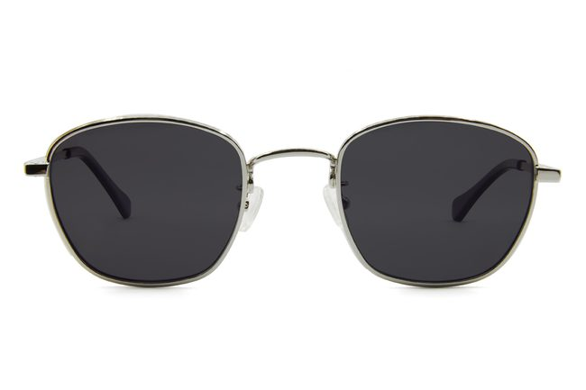 Haro sunglasses in silver viewed from front