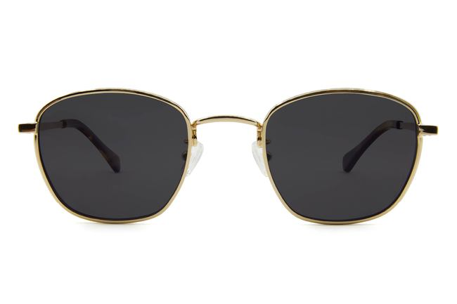Haro sunglasses in gold viewed from front