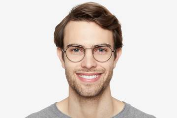 Hamilton eyeglasses in silver on male model viewed from front