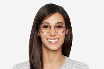 Hamilton eyeglasses in silver on female model viewed from front