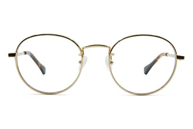 Hamilton eyeglasses in gold viewed from front