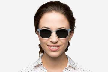 Hopper sunglasses in seneca mist on female model viewed from front