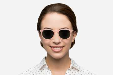 Roebling sunglasses in rose mallow on female model viewed from front