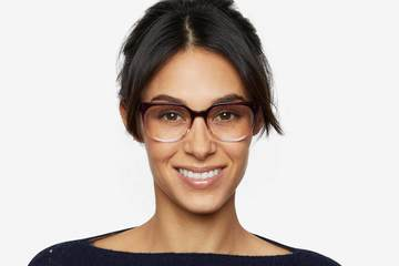 Kelvin eyeglasses in gamay fade on female model viewed from front