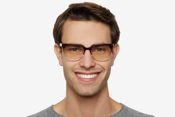 Kelvin sleepglasses in gamay fade on male model viewed from front